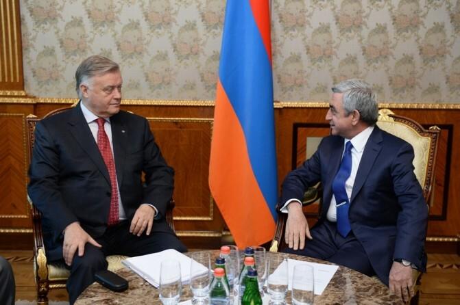 Սերժ Սարգսյանն ընդունել է «Ռուսական երկաթուղիներ» ընկերության նախագահ Վլադիմիր Յակունինին