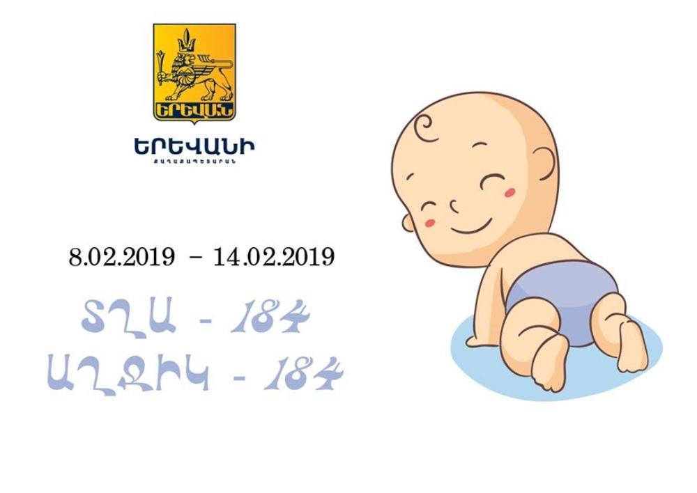 Ծնվել է 368 երեխա՝ 184 տղա և 184 աղջիկ