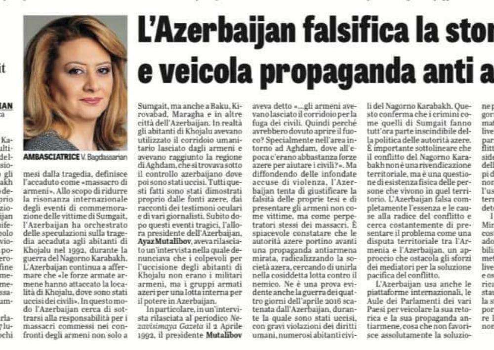 «Ադրբեջանը կեղծում է պատմությունը և շրջանառության մեջ է դնում հակահայկական քարոզչությունը»․ դեսպան Վիկտորյա Բաղդասարյանի հոդվածը La Verita օրաթերթում