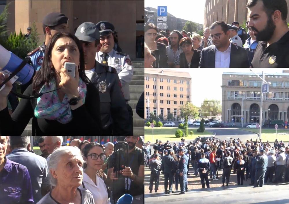 «Սանիթեք»-ի աշխատակիցները նստացույց են սկսել քաղաքապետարանի դիմաց